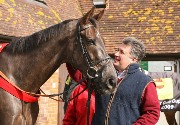 Denman at Ditcheat with trainer Paul Nicholls