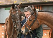 Denman and Kauto Star with trainer Paul Nicholls